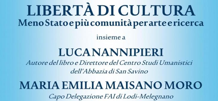 """23 febbraio 2015 – Presentazione del libro """"Libertà di cultura"""" di Luca Nannipieri"""