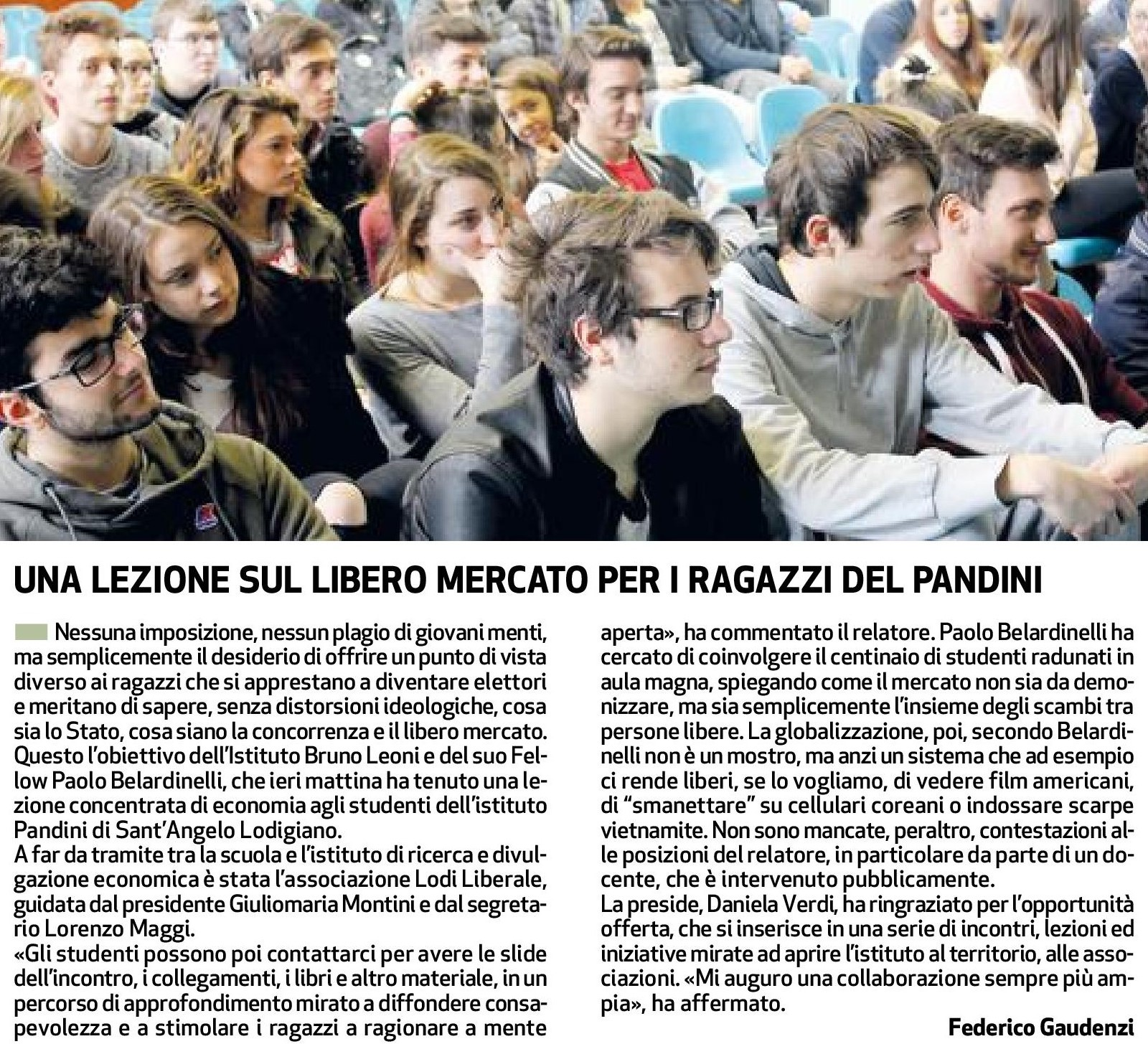 Associazione Lodi Liberale - Progetto Ibl nelle scuole Pandini Sant'Angelo Lodigiano