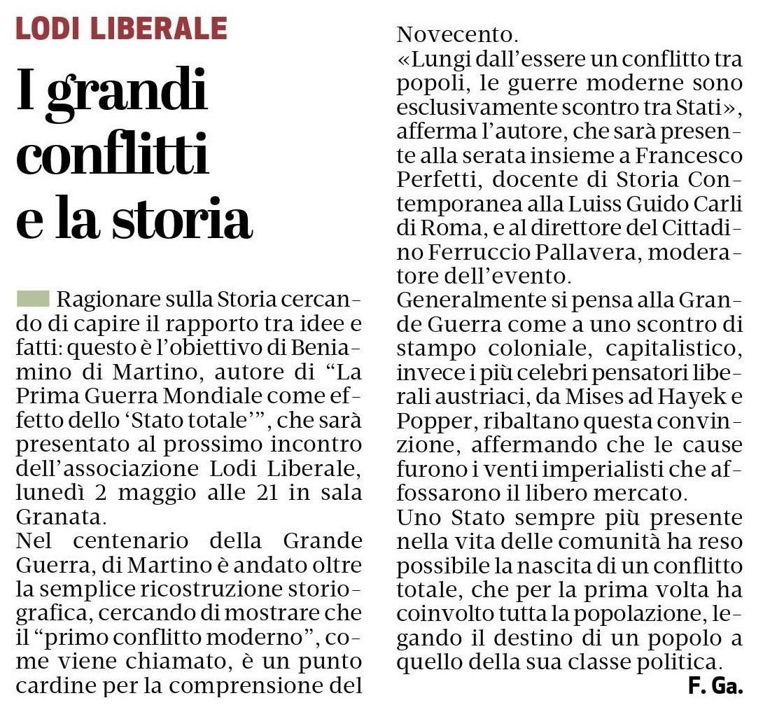 Associazione Lodi Liberale Manifesto La Prima Guerra Mondiale come effetto dello Stato totale Don Beniamino Di Martino, Francesco Perfetti, Ferruccio Pallavera