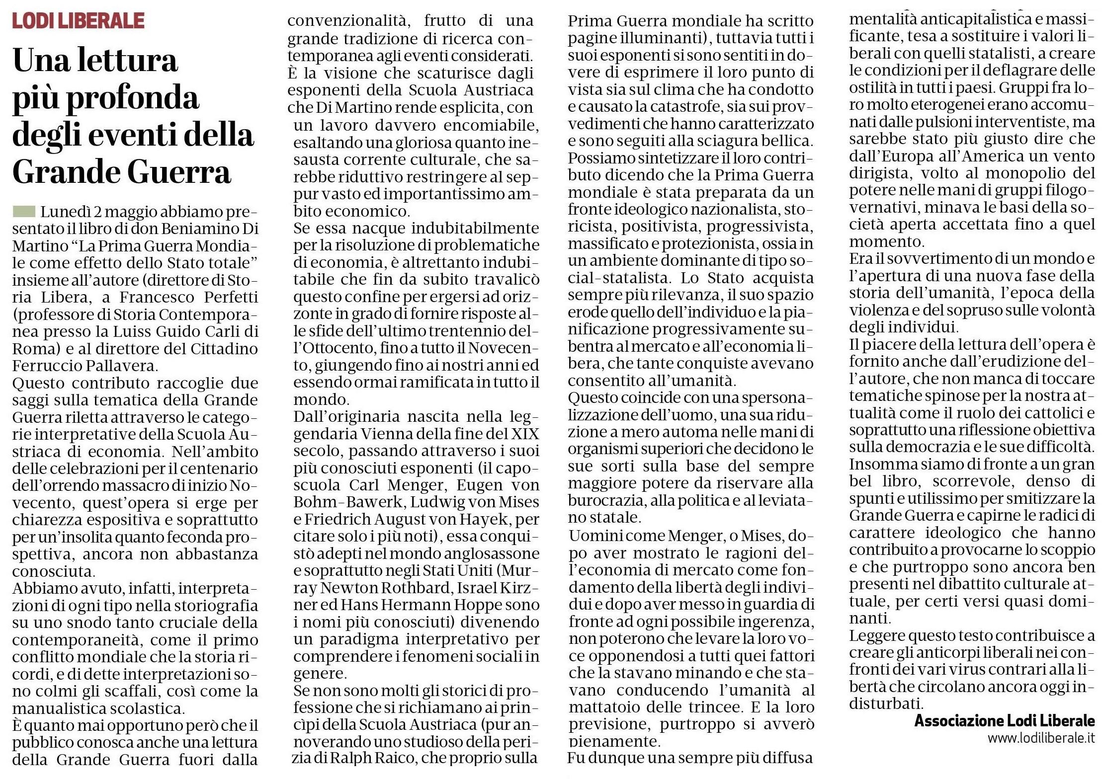 Associazione Lodi Liberale Recensione La Prima Guerra Mondiale come effetto dello Stato totale Don Beniamino Di Martino, Francesco Perfetti