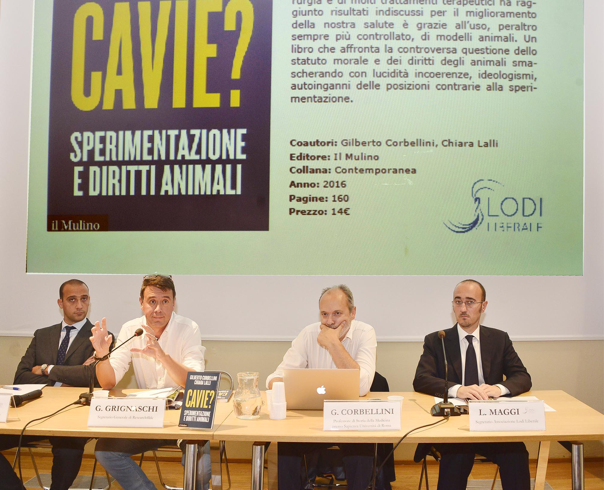 """Associazione Lodi Liberale - Presentazione del libro """"Cavie? Sperimentazione e diritti animali"""" di Corbellini e Lalli, Montini Maggi"""