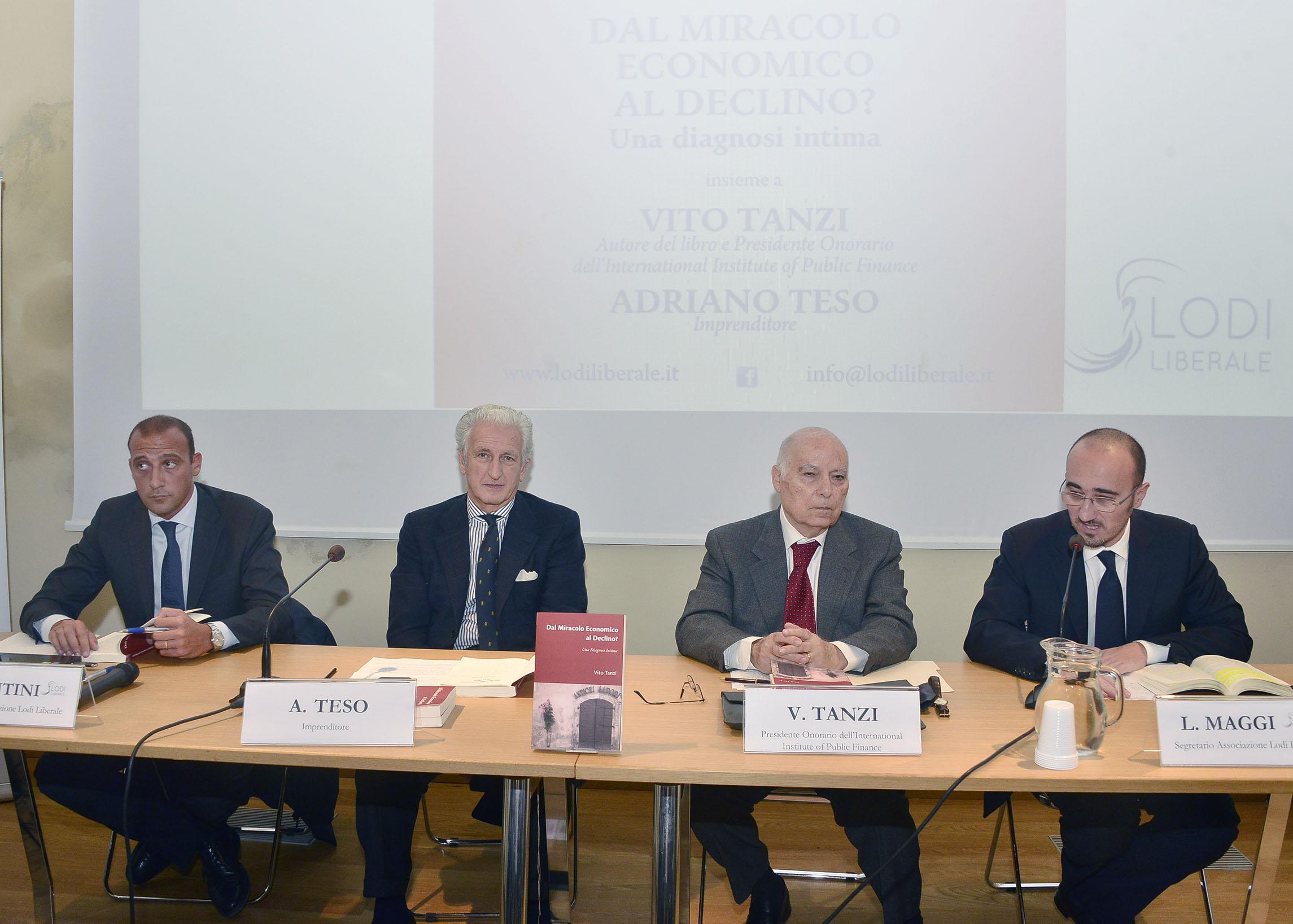 """Associazione Lodi Liberale - Presentazione del libro """"Dal miracolo economico al declino?"""" di Viato Tanzi, Teso, Montini, Maggi"""