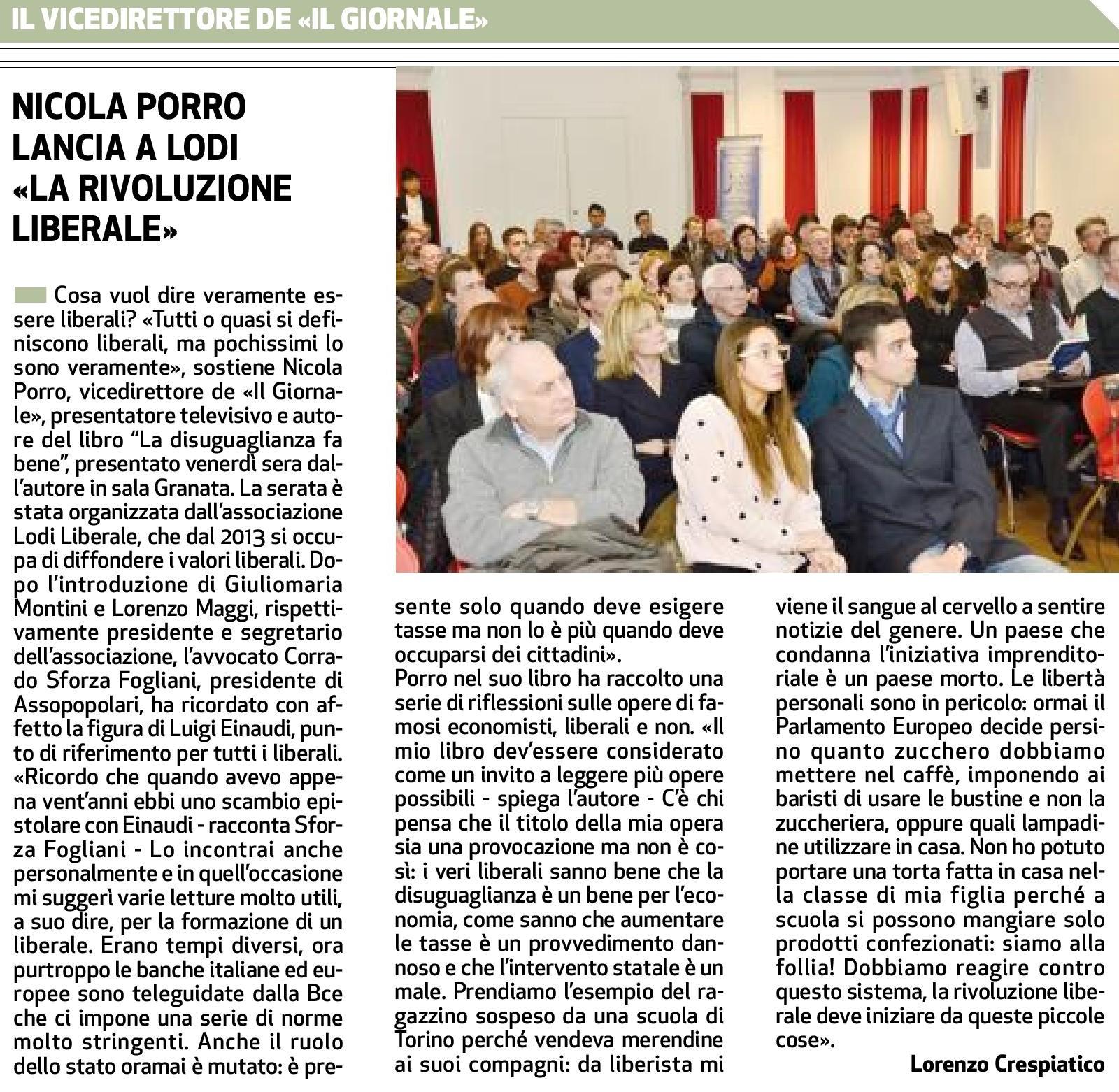 """Associazione Lodi Liberale - Presentazione del libro """"La disuguaglianza fa bene"""" di Nicola Porro, Corrado Sforza Fogliani, Montini, Maggi"""