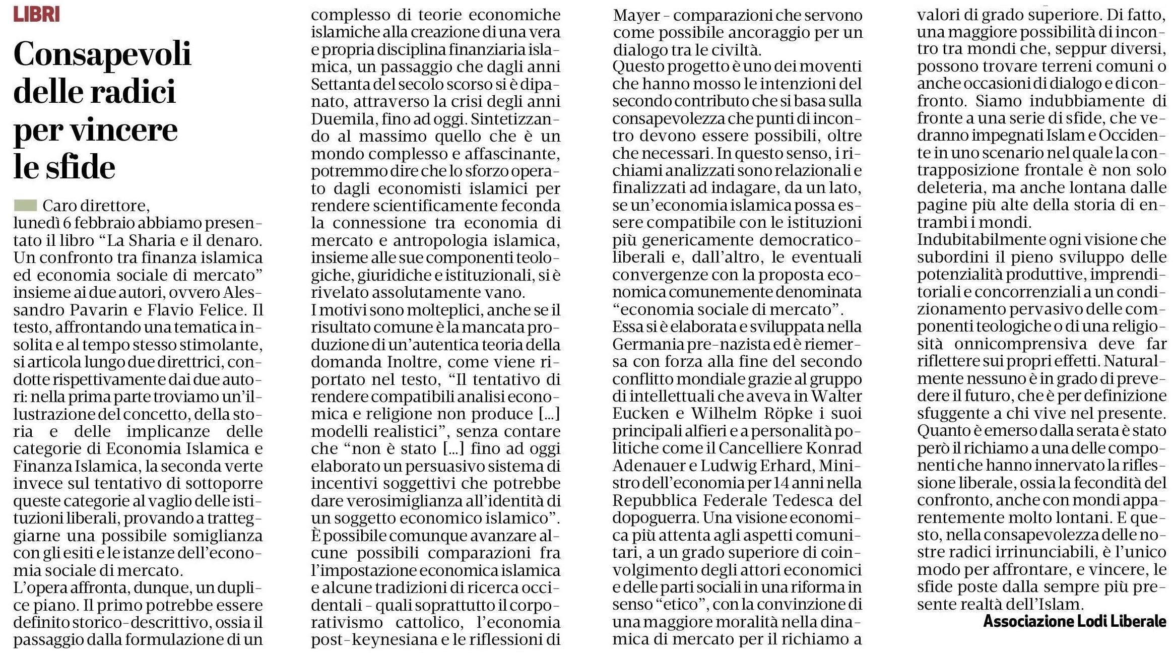 """Associazione Lodi Liberale - Presentazione del libro """"La sharia e il denaro"""" di Flavio Felice e Alessandro Pavarin, Maggi e Montini"""