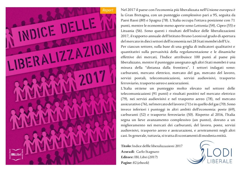Lodi Liberale Volantino Indice delle liberalizzazioni 2017 Pietro Ichino, Franco Debenedetti