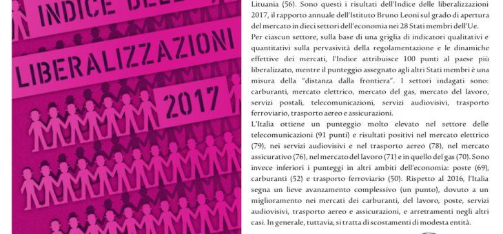"""RECENSIONE DEL LIBRO """"INDICE DELLE LIBERALIZZAZIONI 2017"""" A CURA DI CARLO STAGNARO"""
