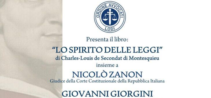 """Lunedì 6 settembre presentazione del libro """"Lo spirito delle leggi"""""""